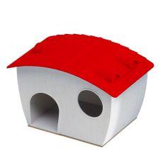Domček pre škrečka - plastový, červená strecha, 14x9,5x8,8 cm