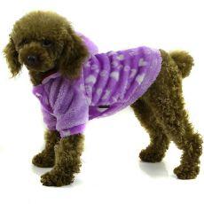 Kabátik pre psa - fialový s kapucňou, S