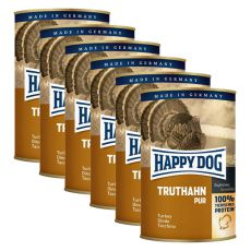 Happy Dog Pur - Truthahn/morka, 6 x 400g, 5+1 GRATIS