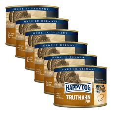 Happy Dog Pur - Truthahn/morka, 6 x 200g, 5+1 GRATIS