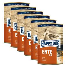 Happy Dog Pur - Ente/kačka, 6 x 400g, 5+1 GRATIS
