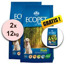 Farmina MO P ECOPET N dog FISH MINI 2 x 12 kg + 4 kg GRATIS