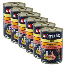 Konzerva ONTARIO pre psa, jahňacie, ryža a olej - 6 x 400g