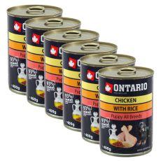 Konzerva ONTARIO Puppy pre psa, kuracie, ryža a olej - 6x400g