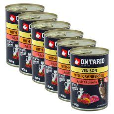 Konzerva ONTARIO pre psa, zverina, brusnice a olej - 6x400g