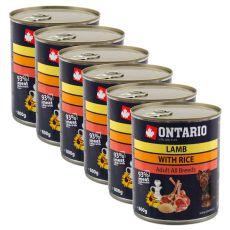 Konzerva ONTARIO pre psa, jahňacie, ryža a olej - 6x800g