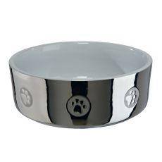 Keramická miska pre psov, strieborná - 0,8 L