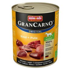 Konzerva GranCarno Fleisch Adult hovädzie + morka - 800g