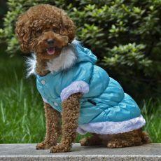 Bunda pre psa s odopínateľnou kapucňou - modrá, XS