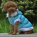 Bunda pre psa s odopínateľnou kapucňou - modrá, M