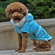 Bunda pre psa s imitáciou vreciek na zips - modrá, L