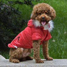 Bunda pre psa s imitáciou vreciek na zips - červená, S