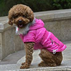 Bunda pre psa s imitáciou vreciek na zips - ružová, M