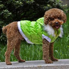 Bunda pre psa s odopínateľnou kapucňou - zelená, XL