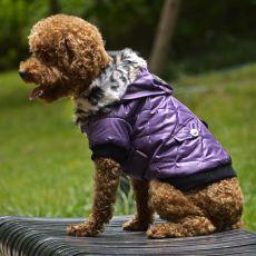 Bunda pre psa s kožušinkou - fialová, XS