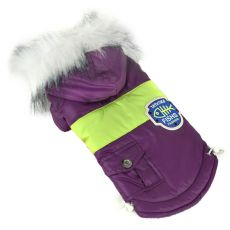 Bunda pre psa s nášivkou - fialová, XL