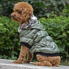 Bunda pre psa s čiernym lemovaním - zelená, S