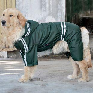 Pršiplášť pre veľkého psa reflexný - tmavozelený, 3XL