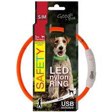 Obojok Dog Fantasy LED nylon - oranžový, 45cm
