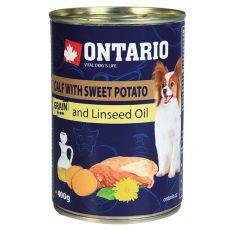 Konzerva ONTARIO Teľacie so sladkým zemiakom a ľanovým olejom – 400g