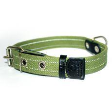 Bavlnený reflexný obojok - 38 - 50cm, 25mm - zelený