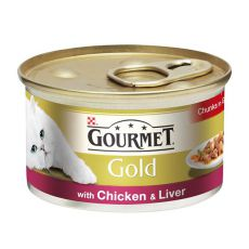 Konzerva Gourmet GOLD - kúsky v šťave s kuracinou a pečeňou, 85g