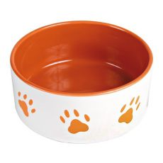 Miska pre psov, keramická - oranžové labky, objem 0,8 l