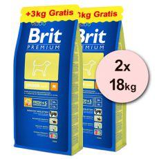 Brit Premium Junior Medium 2 x 15kg + 6kg ZDARMA