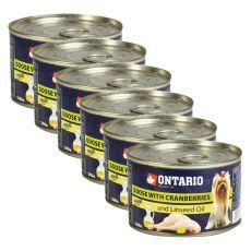 Konzerva ONTARIO Husacina s brusnicami a ľanovým olejom, 6x 200g