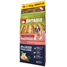 ONTARIO Puppy & Junior Large - chicken & potatoes 15+5kg ZDARMA