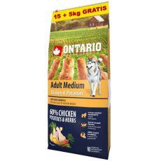ONTARIO Adult Medium - chicken & potatoes 15+5kg ZDARMA