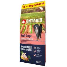 ONTARIO Adult Large - chicken & potatoes 15+5kg ZDARMA