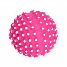 Hračka pre psa - vinylová lopta s pichliačmi, ružová - 7cm