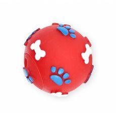 Vinylová lopta pre psov s kostičkami a labkami, červená - 6cm