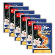 Felix Sensations - hovädzie mäso s rajčinami v želé, 6 x 100 g
