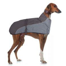 Vesta GREYHOUND s golierom pre psa, sivočierna - 60cm