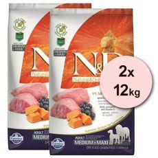 Farmina N&D dog GF PUMPKIN adult medium/maxi, lamb & blueberry - 2 x 12kg