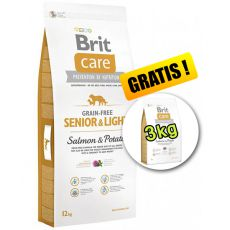 Brit Care Grain Free Senior Light Salmon & Potato 12kg + 3kg GRATIS