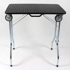 Stôl trimovací skladací s kolieskami 90 x 55 x 85 cm, čierny
