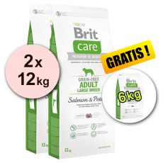 Brit Care Grain-free Adult Large Breed Salmon & Potato 2 x 12 kg + 6 kg GRATIS