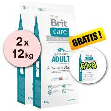 Brit Care Grain-free Adult Salmon & Potato 2 x 12 kg + 6 kg GRATIS