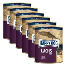 Happy Dog Pur - Lachs 6 x 800 g / losos, 5+1 GRATIS