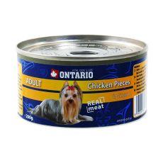 Konzerva ONTARIO Adult pre psa, kuracie kúsky + žalúdky, 200g