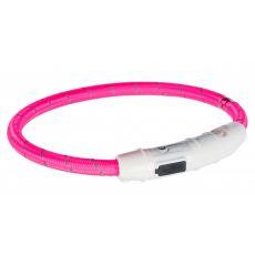 Svietiaci LED obojok L-XL, ružový 65 cm