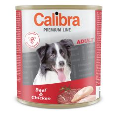 Konzerva CALIBRA Premium Adult - hovädzie a kura, 800 g