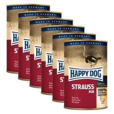Happy Dog Pur - Strauss / pštros, 6 x 400g, 5+1 GRATIS