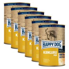 Happy Dog Pur - Kangaroo / klokan, 6 x 400g, 5+1 GRATIS