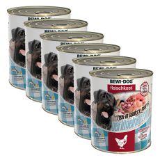 New BEWI DOG konzerva – Hydinové srdcia 6 x 800 g, 5+1 GRATIS