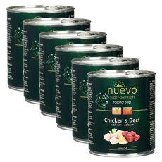 Konzerva NUEVO DOG Junior Chicken & Beef 6 x 800 g, 5 + 1 GRATIS