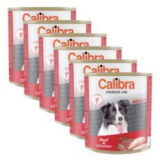 Konzerva CALIBRA Premium Adult - hovädzie a kura, 6 x 800 g